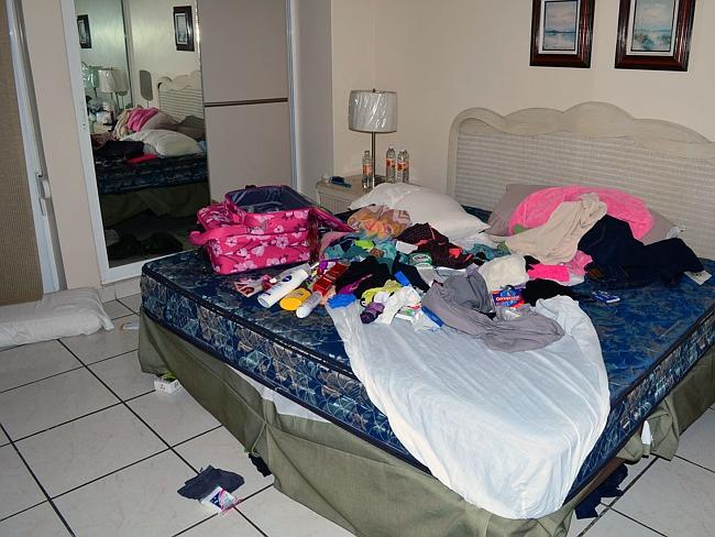 "View of the bedroom of the apartment of the Miramar condominium in which Mexican drug trafficker Joaquin Guzman Loera aka ""el Chapo Guzman"" was arrested in Mazatlan, State of Sinaloa, Mexico on February 23, 2014."