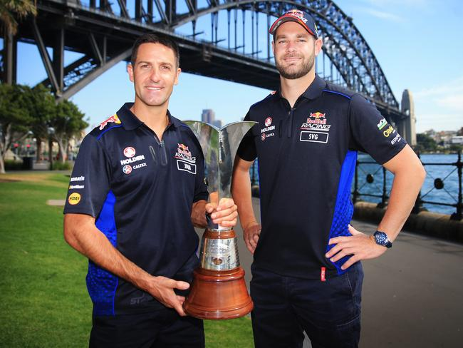 Red Bull teammates Jamie Whincup and Shane Van Gisbergen. Picture: Mark Evans
