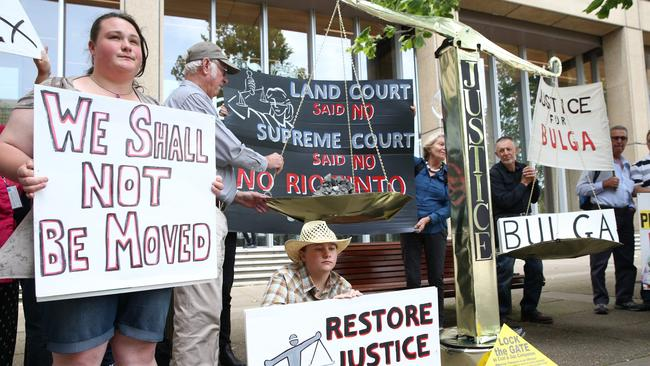 Residents from Bulga protest over expansion of the coal mine, but the town may have to be completely relocated. Picture: News Corp