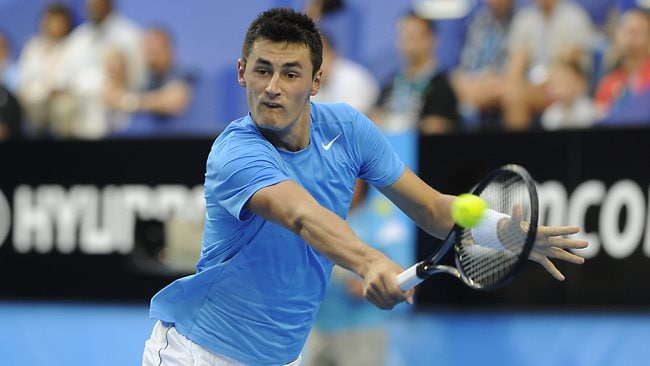 Bernard Tomic hits a backhand during his win over Andreas Seppi at the Hopman Cup. Picture: Daniel Wilkins