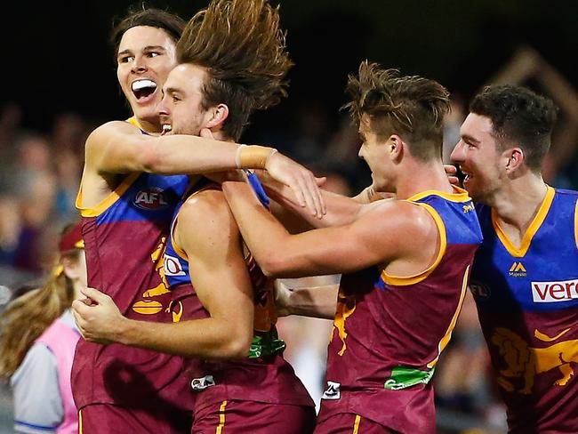 BRISBANE, QUEENSLAND - JULY 23:  Eric Hipwood of the lions celebrates a goal during the round 18 AFL match between the Brisbane Lions and the Carlton Blues at The Gabba on July 23, 2017 in Brisbane, Australia.  (Photo by Jason O'Brien/AFL Media/Getty Images)