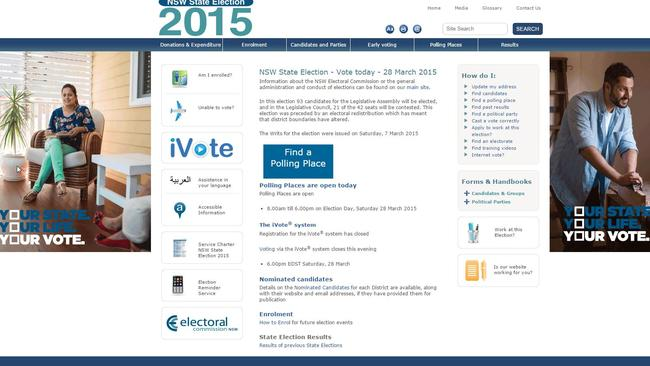 The online voting website iVote was available for certain NSW residents in the 2015 state election.