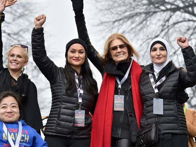 Linda Sarsour, Women's march organiser (right) during the Women's March on Washington on January 21, 2017. Picture: Getty