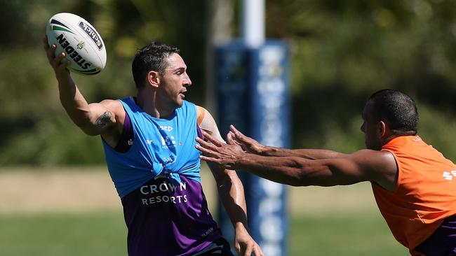 Slater looked in fine form at Storm training. Picture: Wayne Ludbey