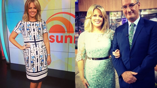 At left: cutting a fine figure in a patterned dress. At right: with Kochie, wearing one of her favourites — Montique.