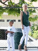 <p>He might only be five, but Gwen Stefani's son Kingston is already rocking out-there hair. Picture: Snappermedia.</p>