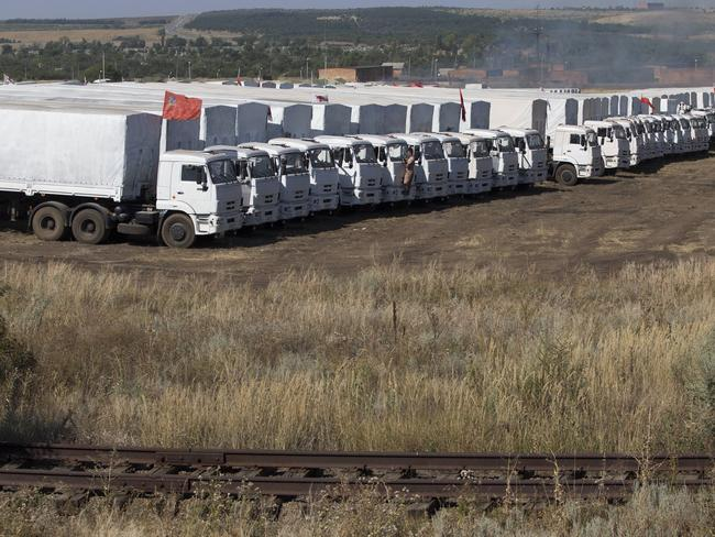 Trojan horses? ... the Russian aid convoy that sparked fears of subversive assistance to the pro-Russian rebels. Picture: Pavel Golovkin