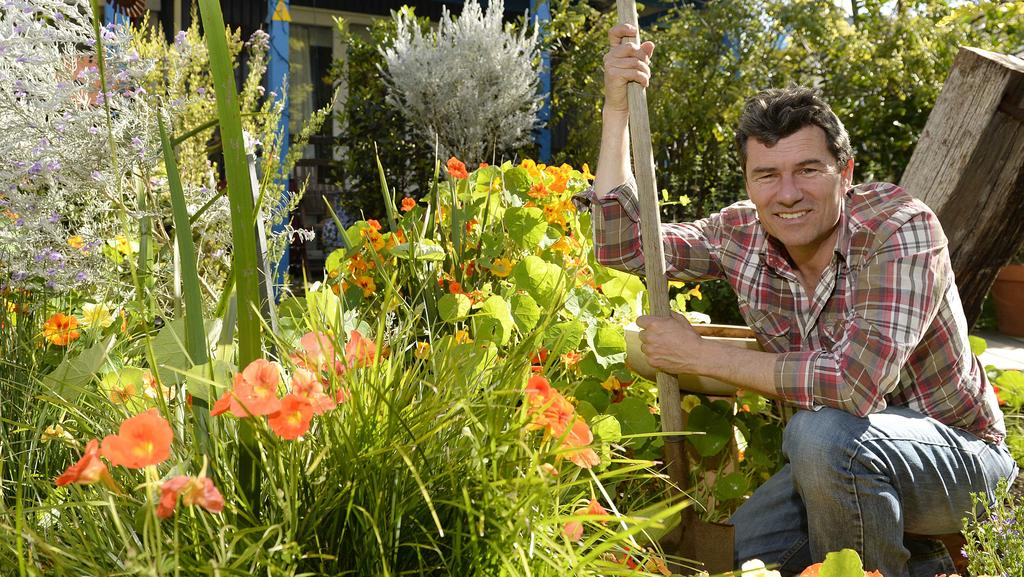 Chris Ferreira in his Hamilton Hill garden. Picture: Stewart Allen