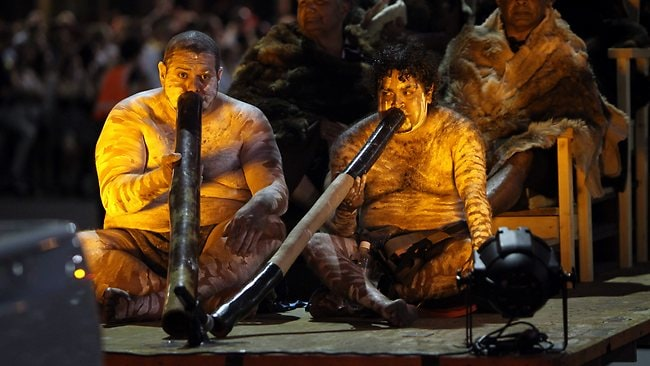 Members of the Kaurna people of Adelaide perform a traditional welcoming ceremony. Picture: Simon Cross