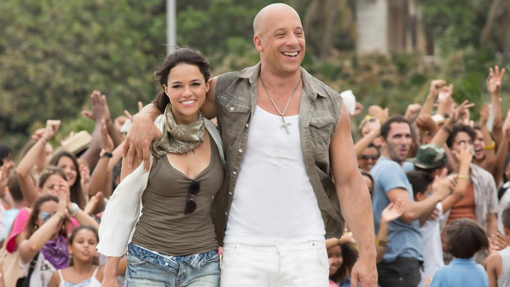 Michelle Rodriguez (as Letty) and Vin Diesel (as Dom) in The Fate of the Furious.