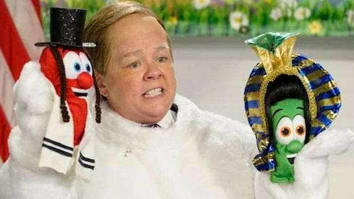 Melissa McCarthy dressed up as Sean Spicer in an Easter bunny suit on Saturday Night Live. Picture: SNL