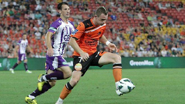 Brisbane Roar striker Besart Berisha brings the ball under control. Picture: Marc Robertson