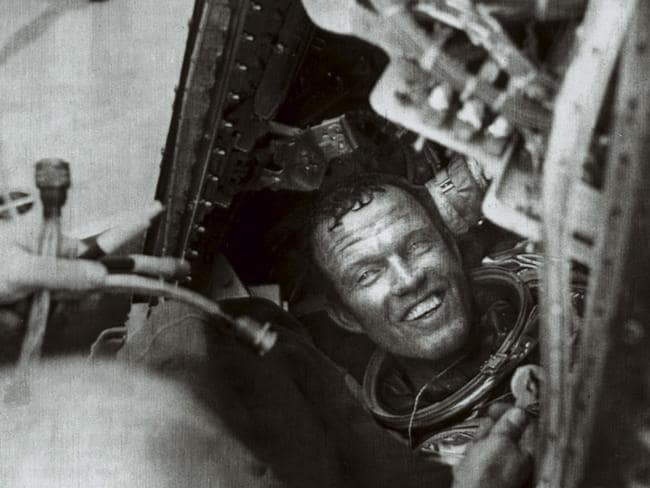"16 May 1963: NASA astronaut Gordon Cooper is released from his capsule ""Faith 7"" after flying the last of America's six Mercury missions. He completed 22 orbits of Earth over nearly two days."
