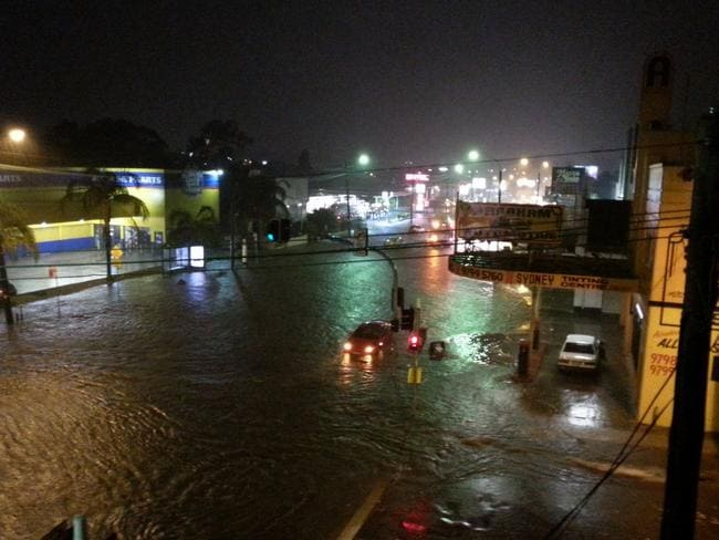 Fire & Rescue crews attended to clear stranded cars in Summer Hill in Sydney's inner west. Picture: Ty Olliver