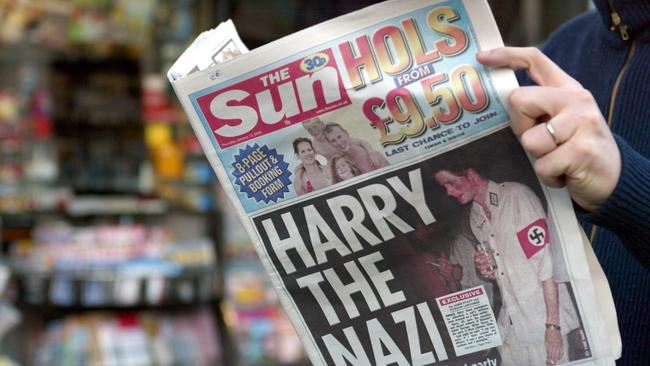 The tabloids published images of Harry wearing an outfit with a Nazi symbol. Picture: AFP PHOTO GABRIEL BOUYS / AFP PHOTO / GABRIEL BOUYS