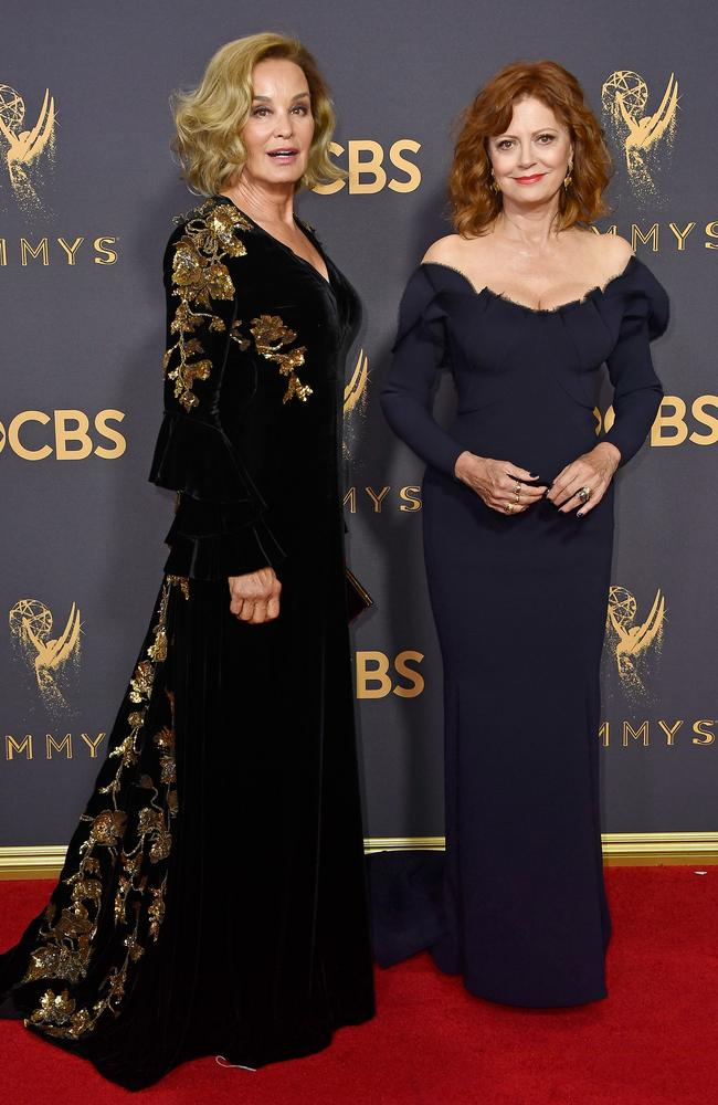 Jessica Lange and Susan Sarandon attend the 69th Annual Primetime Emmy Awards at Microsoft Theater on September 17, 2017 in Los Angeles. Picture: Getty