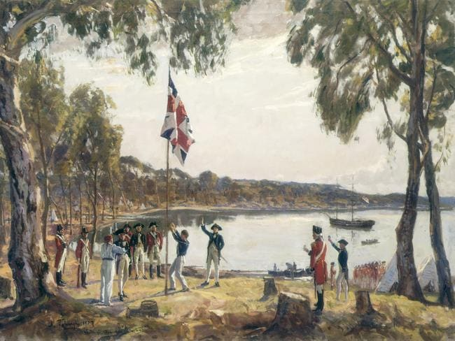 """The Founding of Australia"", a 1937 sketch by Algermon Talmage. Picture: State Library of NSW."