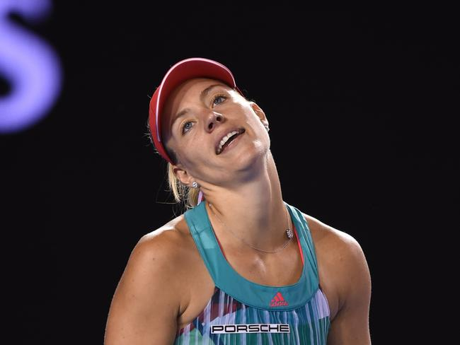 Kerber found herself frustrated in the second set.