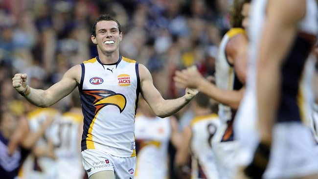 WINNERS ARE GRINNERS: West Coast midfielder Luke Shuey celebrates his     team's one-point win over Fremantle. Picture: <b>Daniel Wilkins</b>