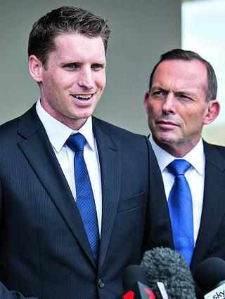 Hastie with Tony Abbott on the campaign trail in Canning, 2015. Pic: Matthew Poon