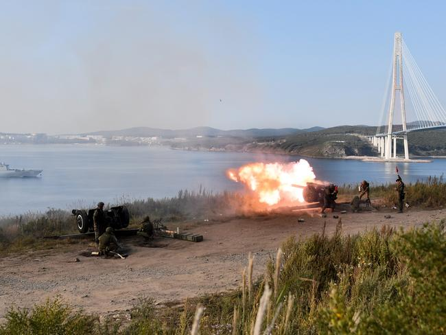 Firing gun salutes welcome Chinese warships ahead of the second stage of a joint Russian-Chinese military exercises in Vladivostok. Picture: Yuri Smityuk/TASS/Getty Images