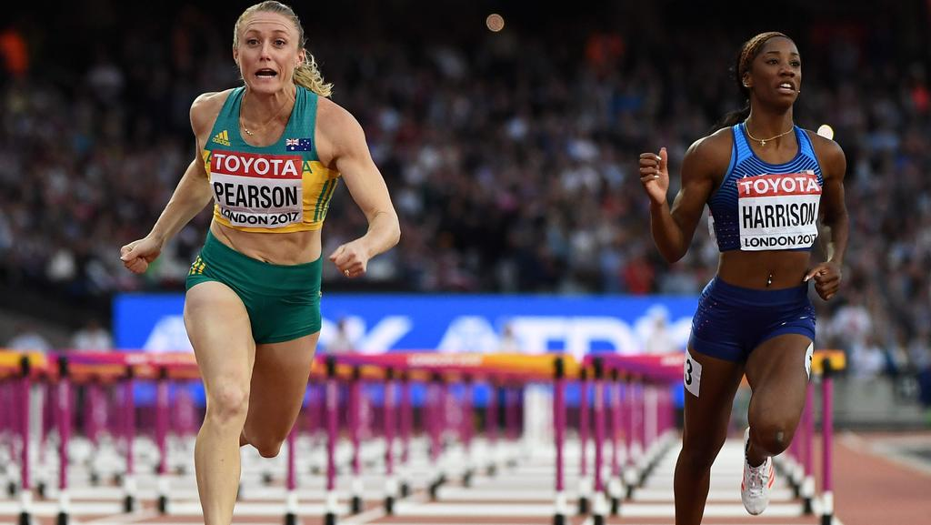 Sally Pearson leaves Kendra Harrison in her wake.