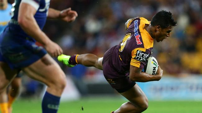 Josh Reynolds could have been sent off for this trip on Ben Barba. Picture: Darren England.