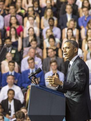 Barack Obama at the University of Queensland in 2014. Picture: Getty