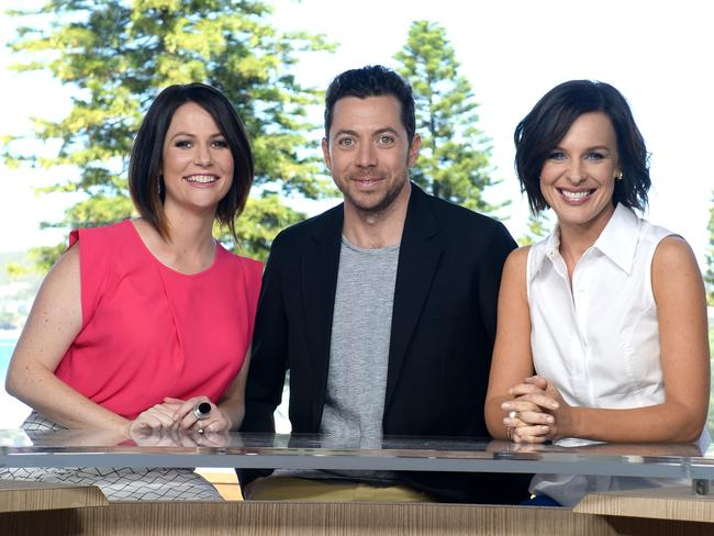 "The original ""Wake Up"" team of Natasha Exelby, James Mathison and Natarsha Belling on set at Queenscliff Surf Life Saving Club."