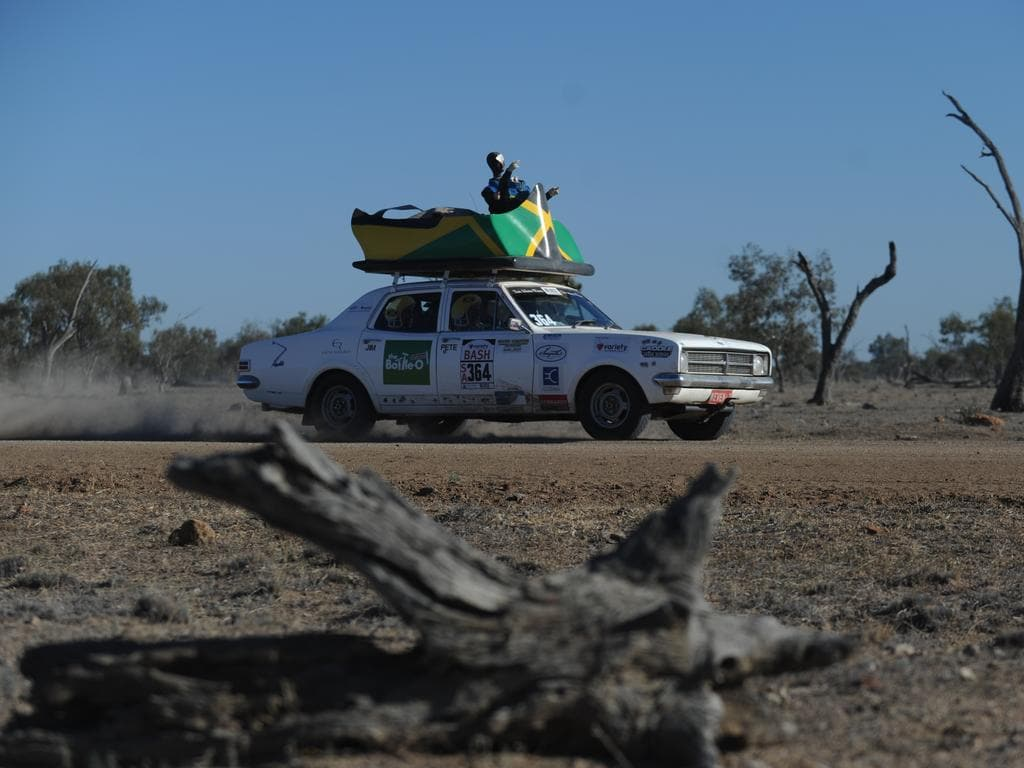 A Bash car on the road from Bourke to Lightning Ridge in outback NSW. Photo Naomi Jellicoe