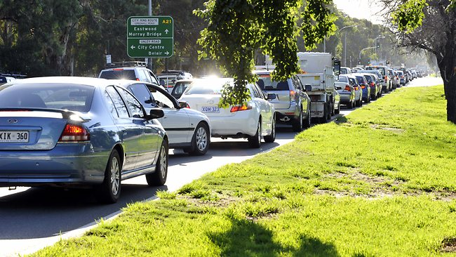 Traffic build-up on the corner of Greenhill Road and Unley Road, because of the Clipsal 500 road closures last year. Picture: Chris Mangan