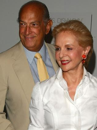 Designers Oscar de la Renta and Carolina Herrera in 2008. Picture: Getty