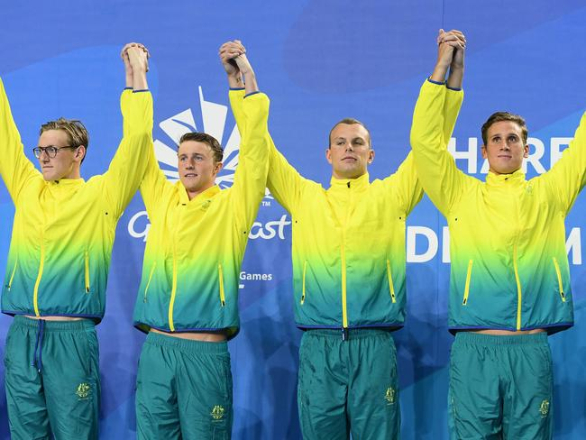 Gold medalists Alexander Graham, Kyle Chalmers, Elijah Winnington and Mack Horton - Commonwealth Games Day 4 Medal Tally, Swimming, Athletics Results, Kerri Pottharst Racial Comment