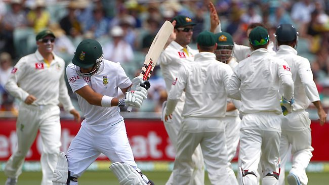 South Africa's Jacques Rudolph swings his bat in anger after he was caught out for 29, off the bowling of Nathan Lyon. Picture: Rick Rycroft