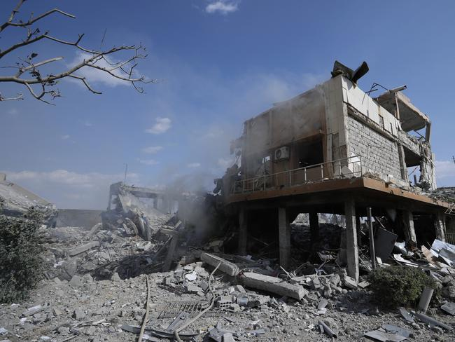 Damage is shown of the Syrian Scientific Research Centre which was attacked by US, British and French military strikes.