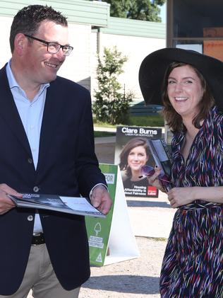 Premier Daniel Andrews and Labor candidate Clare Burns. Picture: David Crosling