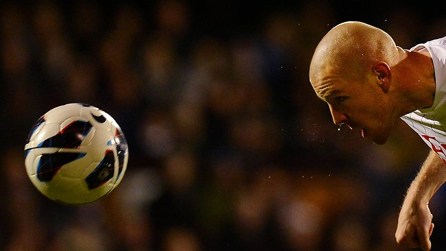 Fulham's Philippe Senderon heads the ball during the English Premier League match against Queens Park Rangers at Craven Cottage. Picture: Ben Stansall