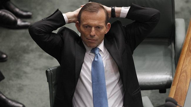 Opposition Leader Tony Abbott in Question Time in the House of Representatives Chamber, Parliament House in Canberra.