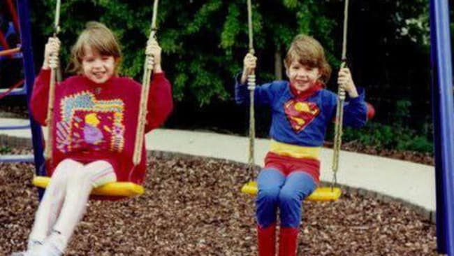 Barbie and Superman: Sarah and Rosie as kids. Picture: Facebook/Sarah Nunn
