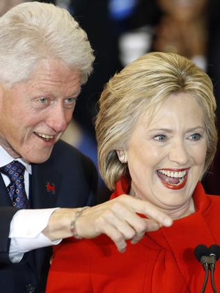 Former President Bill Clinton and Democratic presidential candidate Hillary Clinton in Iowa. Picture: AP