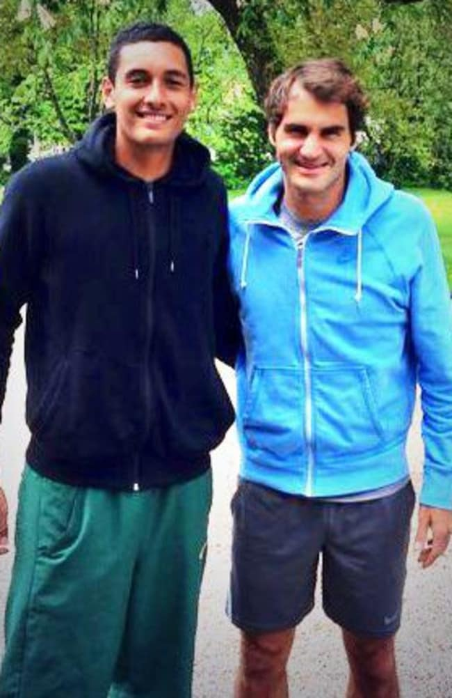 Nick Kyrgios with his idol, Roger Federer.