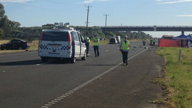 Police at the scene of a two-car crash which killed five people on the Princes Highway near Geelong. iPhone imageimagfes