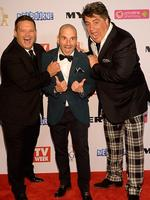 Masterchef judges and Gary Mehigan, George Calombaris and Matt Preston during the Red Carpet Arrivals ahead of the 56th TV Week Logie Awards 2014 held at Crown Casino on Sunday, April 27, 2014 in Melbourne, Australia. Picture: Jason Edwards