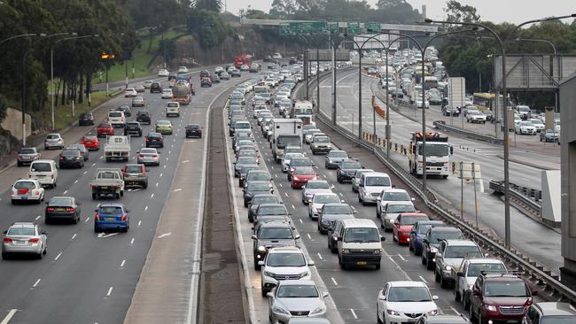 City-bound traffic was turned upside down after the car rolled in the southbound lane of the Sydney Harbour Tunnel yesterday.