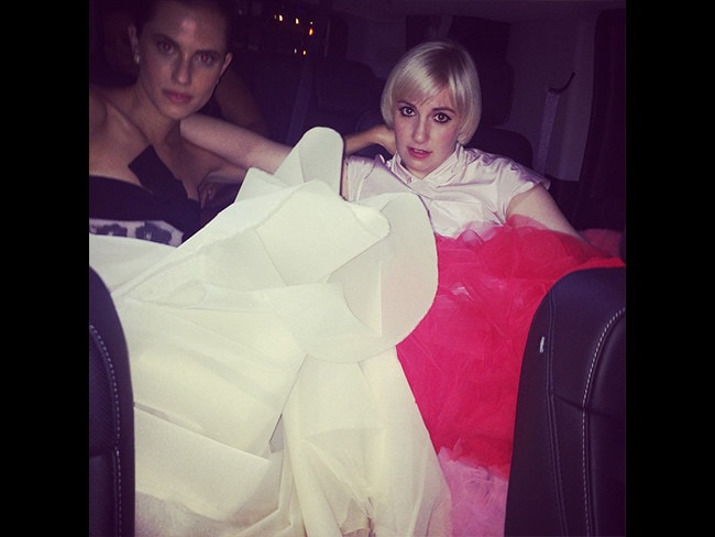 "Behind The Scenes Emmy Awards 2014... Actress Lena Dunham with Allison Williams posts, ""Smashed so happily into our @giambattistapr"" Picture: Instagram"