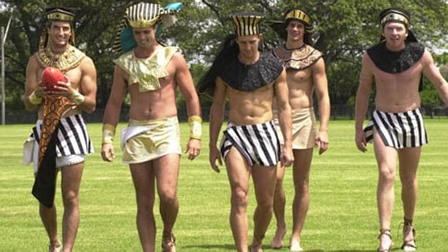Swans Andrew Schauble, Rowan Warfe, Leo Barry, Jason Saddington and Gerrard Bennett dressing up to promote the open auditions for Aida. Picture: Supplied