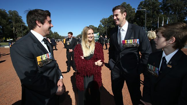Corporal Ben Roberts-Smith with the children of fallen Diggers: Keegan Locke, 17, the son of Sergeant Matthew Locke and the children of Sergeant Blaine Diddams, Elle-Lou, 16, and Henry, 14 in Canberra today. Picture: Gary Ramage