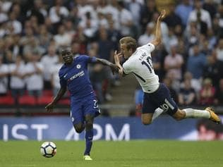 Chelsea's French midfielder N'Golo Kante (L) vies with Tottenham Hotspur's English striker Harry Kane during the English Premier League football match between Tottenham Hotspur and Chelsea at Wembley Stadium in London, on August 20, 2017. / AFP PHOTO / Daniel LEAL-OLIVAS / RESTRICTED TO EDITORIAL USE. No use with unauthorized audio, video, data, fixture lists, club/league logos or 'live' services. Online in-match use limited to 75 images, no video emulation. No use in betting, games or single club/league/player publications. /