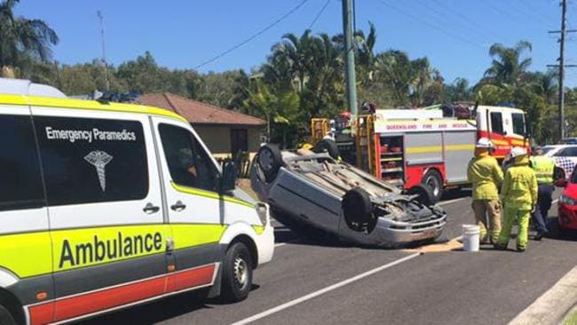 A woman has been taken to hospital after a single vehicle rollover on the Sunshine Coast. Picture: Facebook/Win News Sunshine Coast