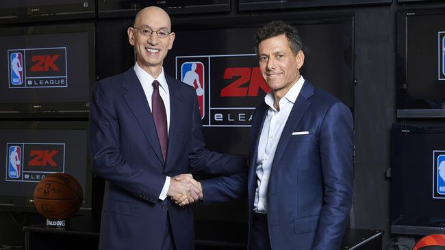 NBA Commissioner Adam Silver and Take-Two CEO Strauss Zelnick are working together to create an ambitious esports league known as the NBA 2K eLeague. (Jenn Pottheiser/NBA via AP)